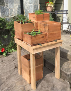 Potted plant platform for four pots to make a Plant Booster Veggie Table
